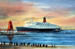 QE2 Enters Tyne A