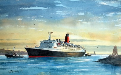 QE2 Enters Tyne B